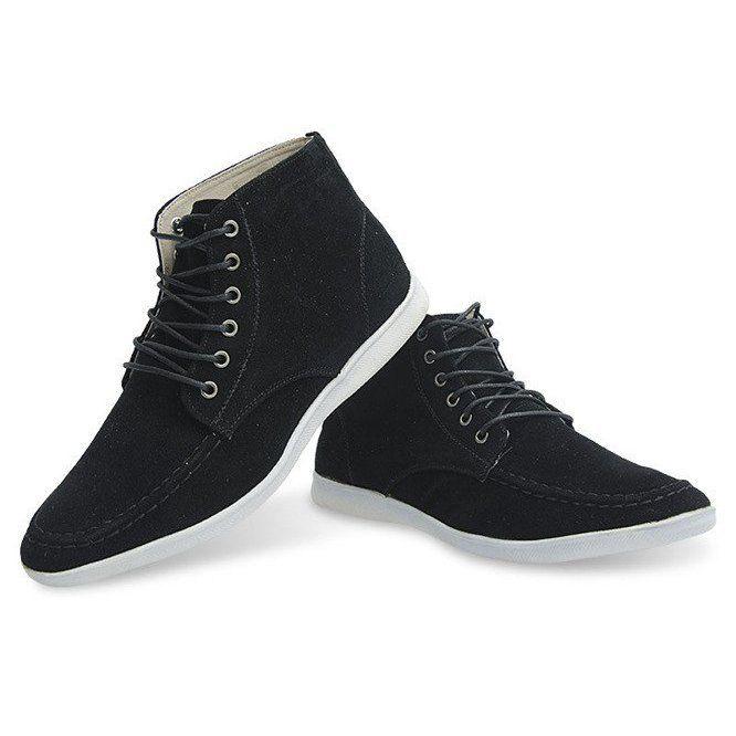 Wysokie Zamszowe Polbuty Y035 Czarny Czarne High Top Sneakers Sneakers Shoes