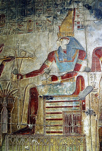 Depiction of Horus from the walls of the temple of Seti I