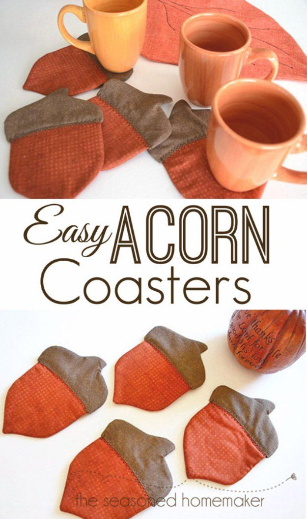 Sewing Projects for The Home - Easy Acorn Coasters - Free DIY Sewing Patterns, Easy Ideas and Tutorials for Curtains, Upholstery, Napkins, Pillows and Decor http://diyjoy.com/sewing-projects-for-the-home