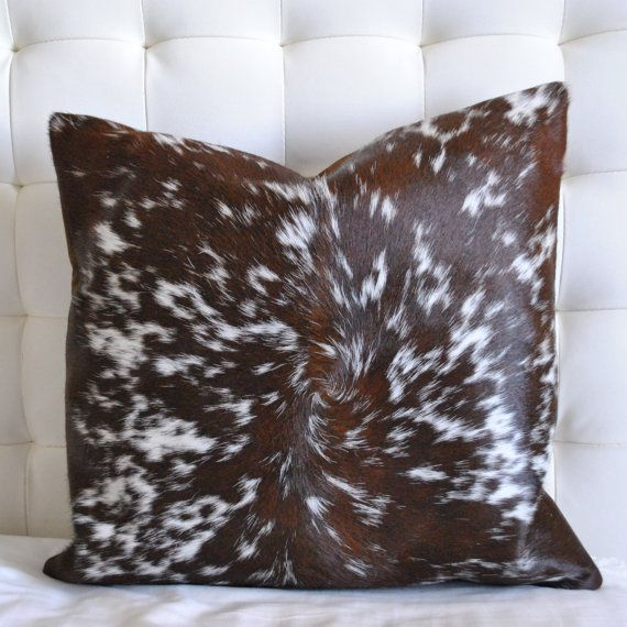 Cowhide Pillow  unique large 21 x 21 brown and