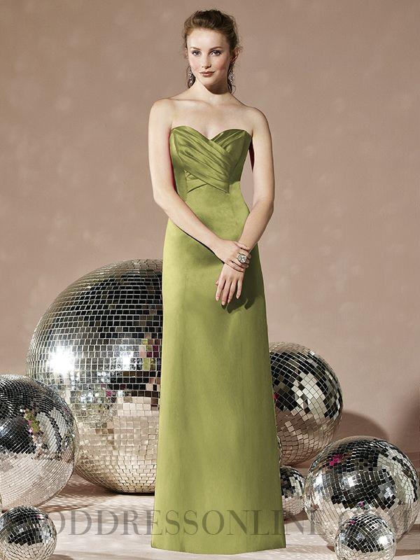 2014 Lovely Ruffles A-line Sweetheart Floor-length Satin Bridesmaid Dresses