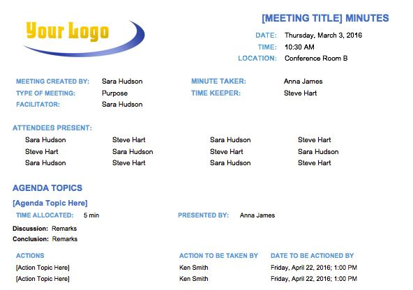 Basic Meeting Minutes Template