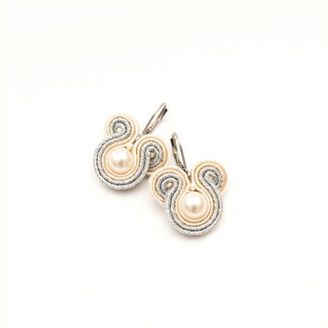 Swarovski pearls soutache weddings earrings by MANUfakturamaanuela, $25.00