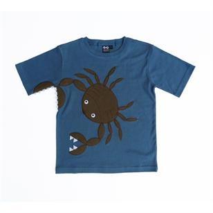 Mørkeblå t-shirt med krabbe fra UBANG  www.raskerollinger.dk