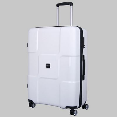 The Tripp White II World large suitcase is part of a sophisticated 4-wheel collection exclusive to Tripp.