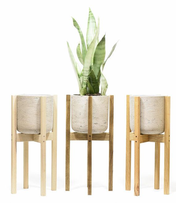 Concrete Planter With Wood Plant Stand Plant Stand With Concrete Pot Large Indoor Planter Indoor Planters With Drainage Concrete Pot Concrete Pots Wood Plant Stand Concrete Planters
