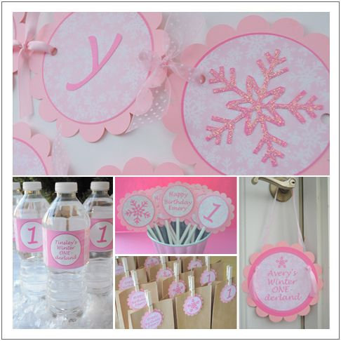 Winter Onederland for a 1st birthday party for a girl!  See more party ideas at CatchMyParty.com!  #partyideas #girlbirthday