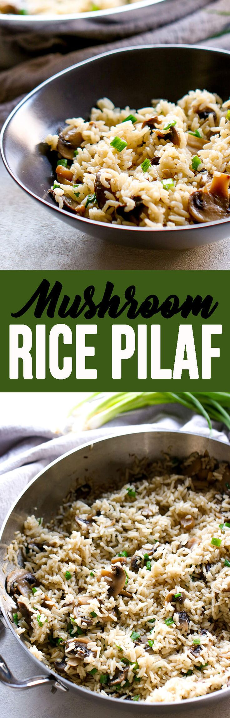 This Mushroom Rice Pilaf is the perfect earthy addition to your dinner table! It's easy to throw together and full of flavor.