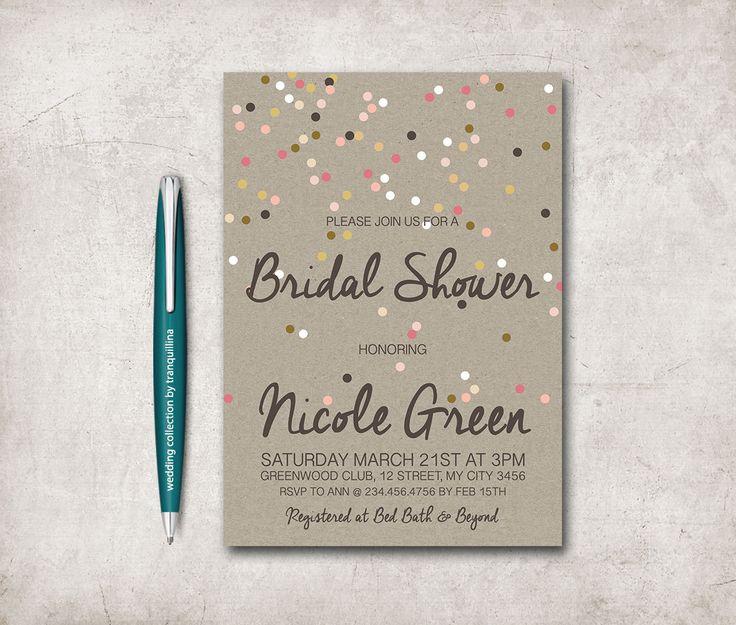 Bridal Shower Invitation Printable, Confetti Bridal Shower Invitation, Digital File - Kraft Paper Rustic Bridal Shower - pinned by pin4etsy.com