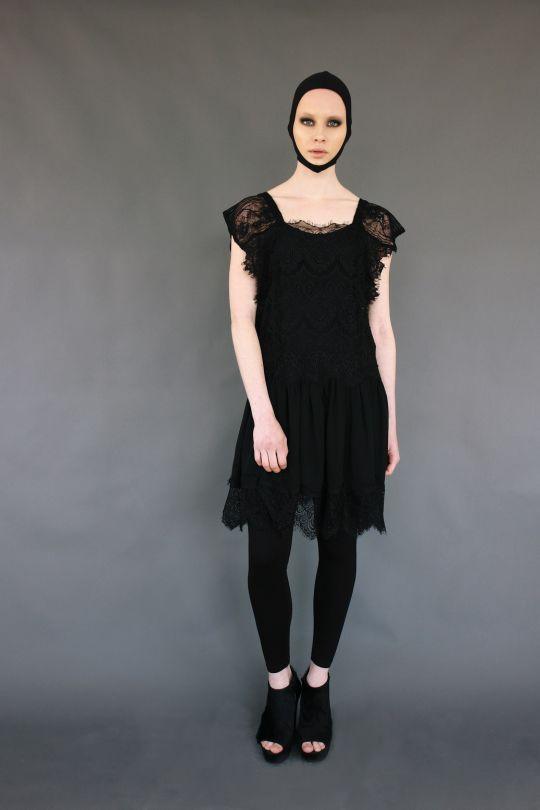 Lace and silk dress www.maurizio.gr