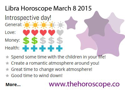 Introspective day for #Libra on March 8th #horoscope ... http://www.thehoroscope.co/daily-horoscope/libra-sign-Libra-Daily-Horoscope-March-8-2015-7413.html