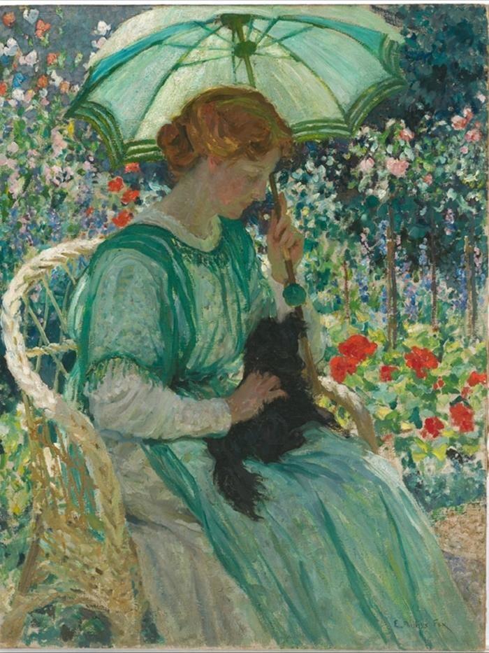E. Phillips FOX (Australia 1865-1915).  The green parasol, 1912, oil on canvas, 117.0 x 89.5 cm,  National Gallery of Australia, Canberra.