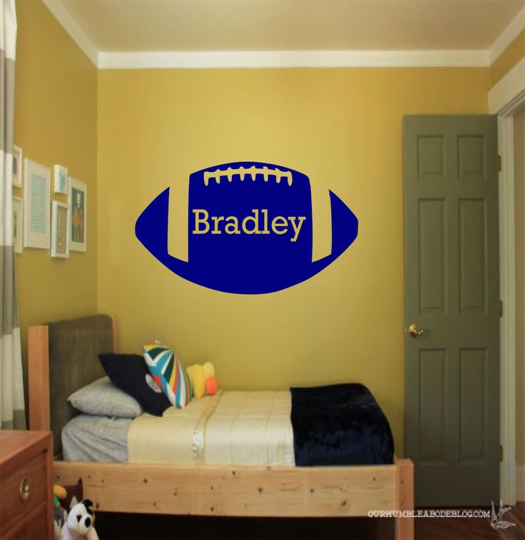 Custom Kids Name Football Wall Decal - Custom Sports Decal, football decal, custom wall decals, sports wall decal, kids room decor by SportsVinyl on Etsy https://www.etsy.com/listing/198559468/custom-kids-name-football-wall-decal