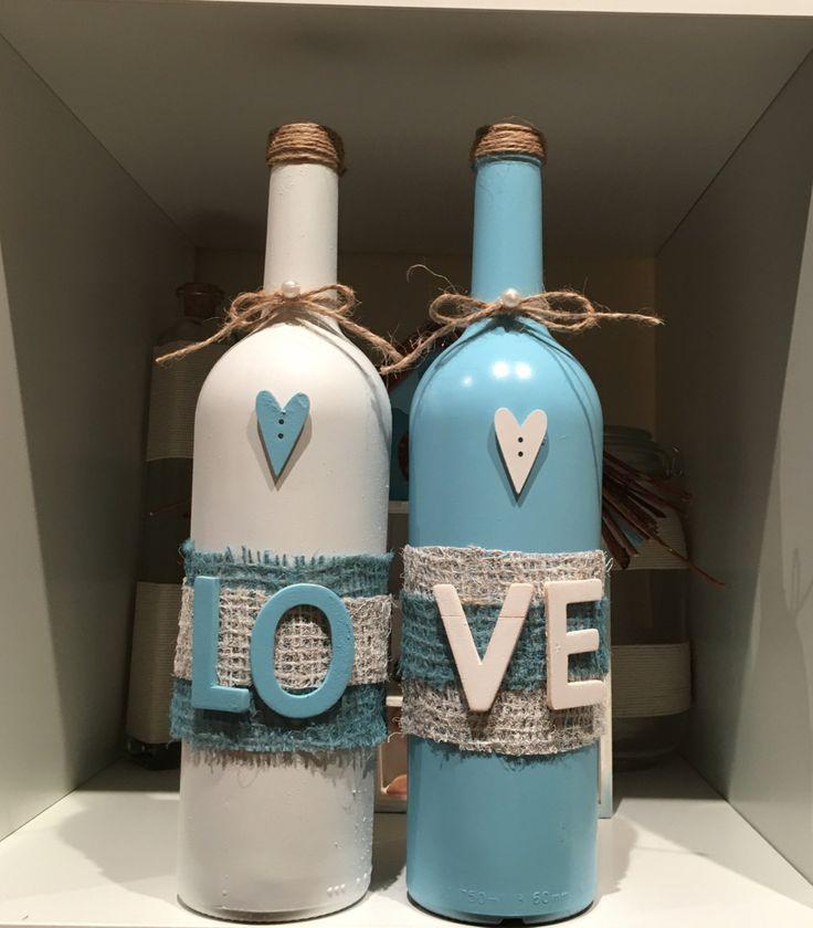 Reclaimed wine bottles by cjshomedecor on Etsy