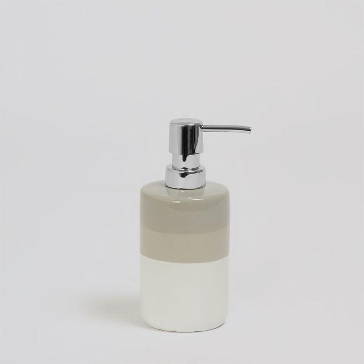 Casal - Porta Sabonete Líquido Nuance Branco e Cinza - Home Style