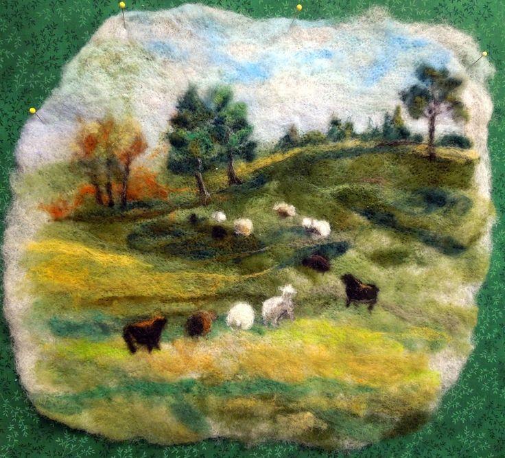 Green Pastures Large Thyme Tile Needle Felting Kit by FiberThyme on Etsy