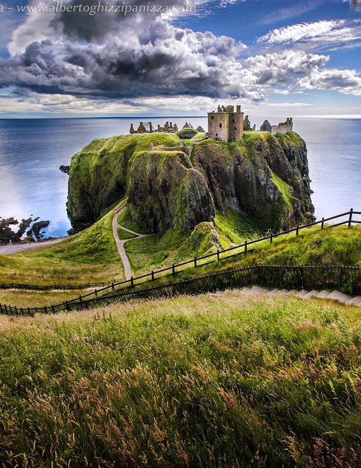 Dunnottar Castle, Near Stonehaven, Aberdeenshire, Scotland - Dunnottar Castle is located upon a rocky headland on the north-east coast of Scotland, about 3 km (1.9 mi) south of Stonehaven. The surviving buildings are largely of the 15th and 16th centuries, but the site is believed to have been fortified in the Early Middle Ages. Dunnottar is best known as the place where the Honours of Scotland, the Scottish crown jewels, were hidden from Oliver Cromwell's invading army in the 17th century.