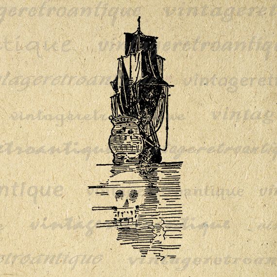 Pirate Ship with Skull Digital Printable Image Graphic