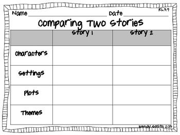 Do your students need practice comparing two stories?  Well this graphic organizer is an easy way to help them focus on comparing the characters, settings, plots, and themes of two stories. The graphic organizer aligns with Common Core Standard RL.3.9 but can easily be used with other grade levels and grade appropriate text.  Thanks for downloading! Wendy