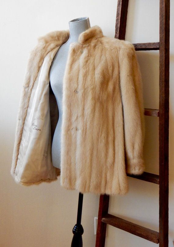 Ivory Mink Glam 70s Party Fur Jacket Stand Up by TooArtfulForYou