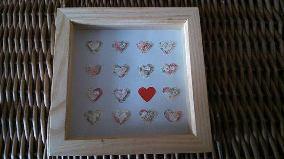 Natural Wooden box Frame with Hearts by sweetpeaandblue on Etsy, £15.00