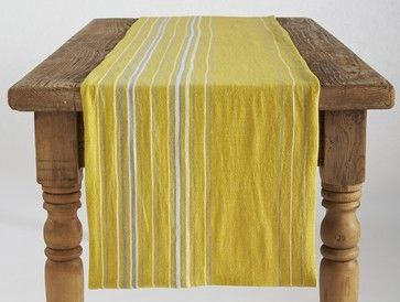 Agrarian Stripe Table Runner, Sunflower - contemporary - tablecloths - Coyuchi