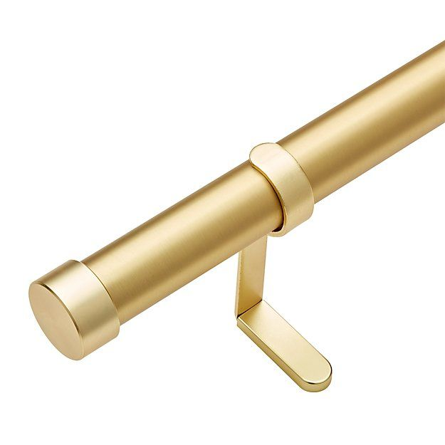 Brushed Brass 1 25 Curtain Rod Set Cb2 Curtain Rods Brass