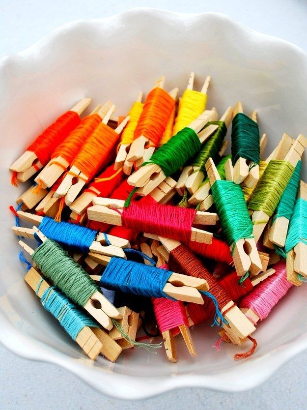 Wrap embroidery floss around a clothespin to keep it from getting tangled. | Community Post: 45 Organization Hacks To Transform Your Craft Room