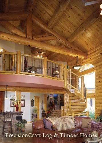 Loft In A Custom Milled Log Home Precisioncraft Log
