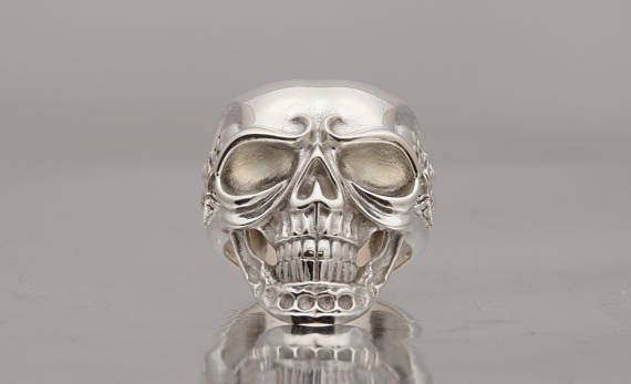 Mens Skull Ring, Sterling Skull Ring, UNIQUE Solid Silver jewelry.  ALL RING SIZES AVAILABLE.  We offer gold plated and black rhodium option also. Goldsmith workshop made. Custom made jewelry, orders accepted. Engraving and any personalization also. Pictures of actual jewelry piece ring.