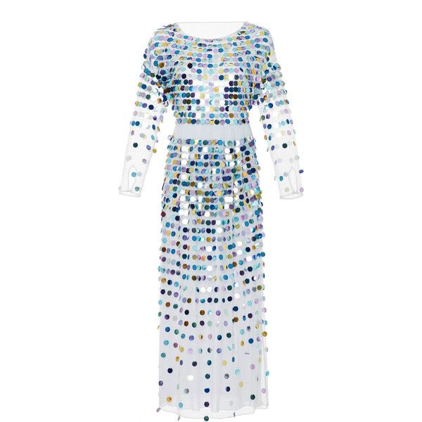 ALEXACHUNG Sequined Polka-Dot Tulle Maxi Dress ($1,660) ❤ liked on Polyvore featuring dresses, multi, embellished dress, colorful cocktail dress, sequin dress, sequin maxi dress and tulle dresses