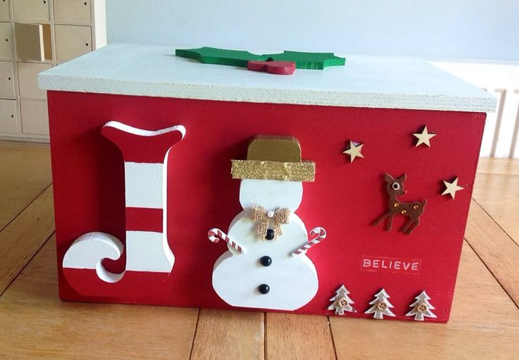 Look at this joyful Christmas Eve box! You could get one of our popular plain wooden boxes, paint it and decorate it with our plain wooden letters and wooden Christmas shapes. Get more DIY inspiration from www.craftmill.co.uk