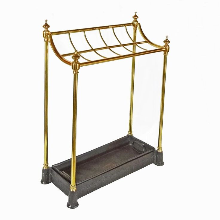 Antique English Twelve-Slot Brass Umbrella / Walking Stick Stand with Removable Drip Pan and Cast Iron Base - Rd. N° Year 1896, England