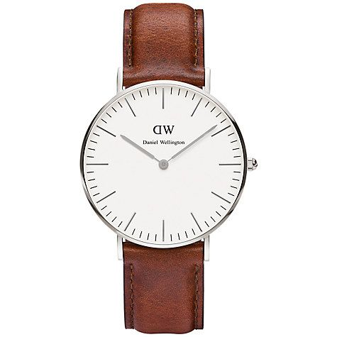Buy Daniel Wellington Women's Classic St Mawes Leather Strap Watch, Tan/White Online at johnlewis.com