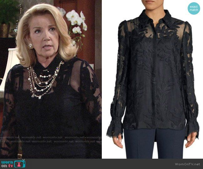 5ff835ab980 Nikki s sheer black floral blouse on The Young and the Restless. Outfit  Details  https