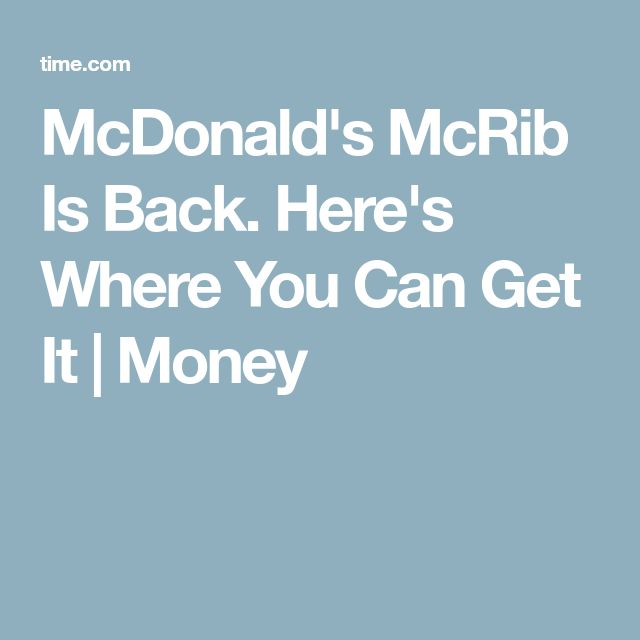 McDonald's McRib Is Back. Here's Where You Can Get It | Money