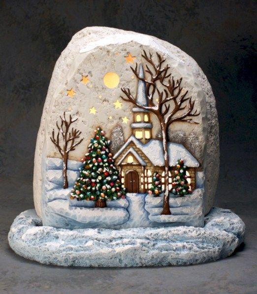 Beautiful christmas rock painting ideas (33)