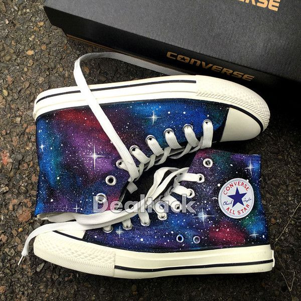 Custom Design Hand Painted Shoes Galaxy Converse Chuck Taylor Men... ($120) ❤ liked on Polyvore featuring men's fashion, men's shoes, men's sneakers, mens hi tops, mens canvas sneakers, converse mens shoes, mens waterproof sneakers and mens high tops