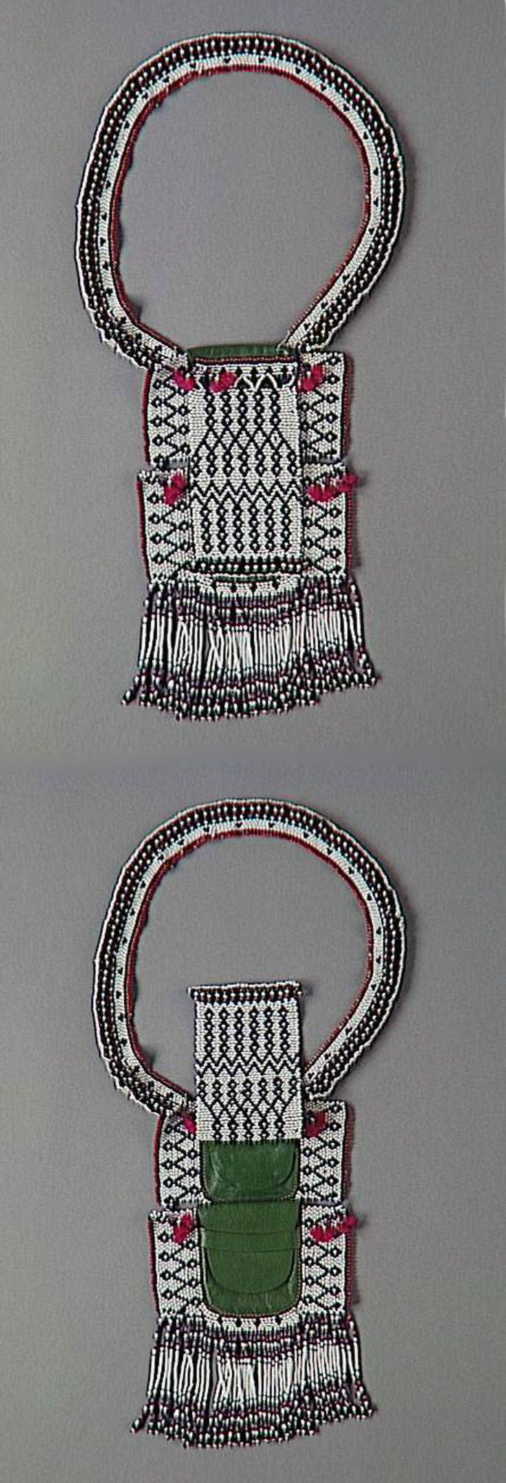 South Africa | Necklace with pouch from the Nguni (Thembu, Xhosa) people.  Element of the costume worn by young uninitiated men | Leather, textile, glass beads and wool