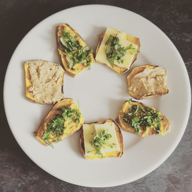 One of the 7 tips to making your #wellnessjourney and improving your #thyroidhealth is to take inspiration. I found this #recipe online.  Sweet potato toast - who knew! So easy to make. Just slice the sweet potatoes about 1/4 inch thick and stick them in the toaster. I spread a tiny amount of butter on each, then topped mine with: 1- sliced cheddar cheese, basil and parsley 2 - home made roast red pepper hummus, basil and parsley 3 - 'Whole Earth' crunchy peanut butter