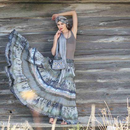 Boho skirt / Юбки ручной работы. Ярмарка Мастеров - ручная работа. Купить Длинная серая шелковая юбка в стиле бохо многоярусная .. Handmade.
