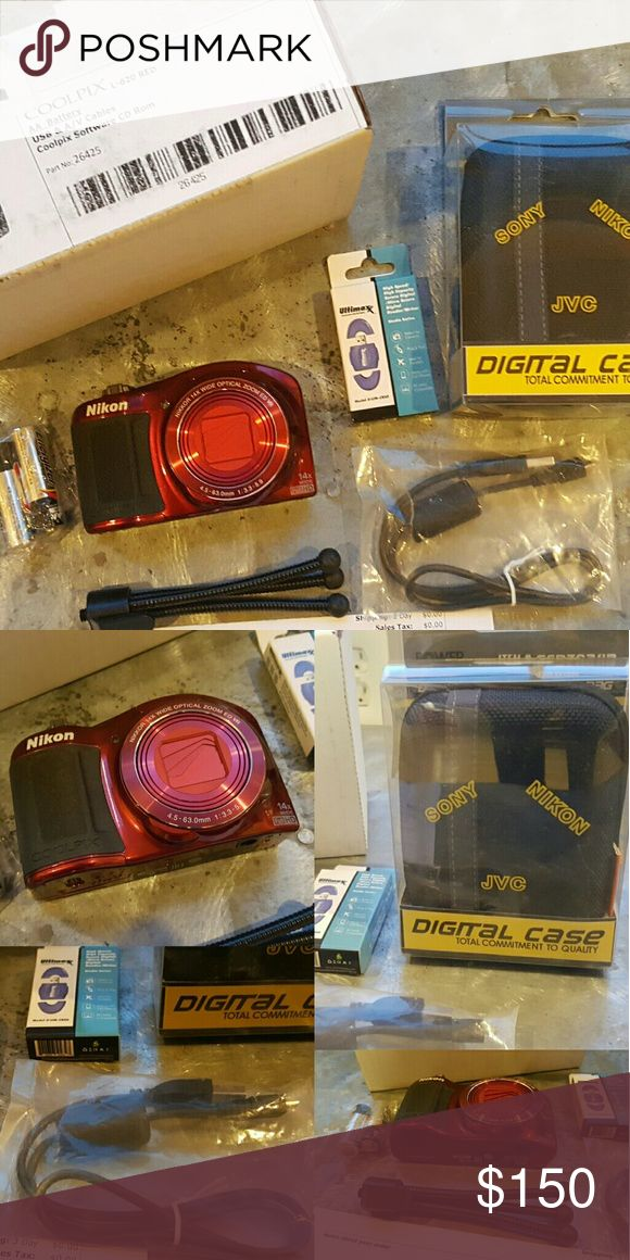 Nikon Coolpix Camera Set L-620 in red.   New,  in box.  Comes with case,  mini tripod, batteries,  cables and USB storage. Nikon Other