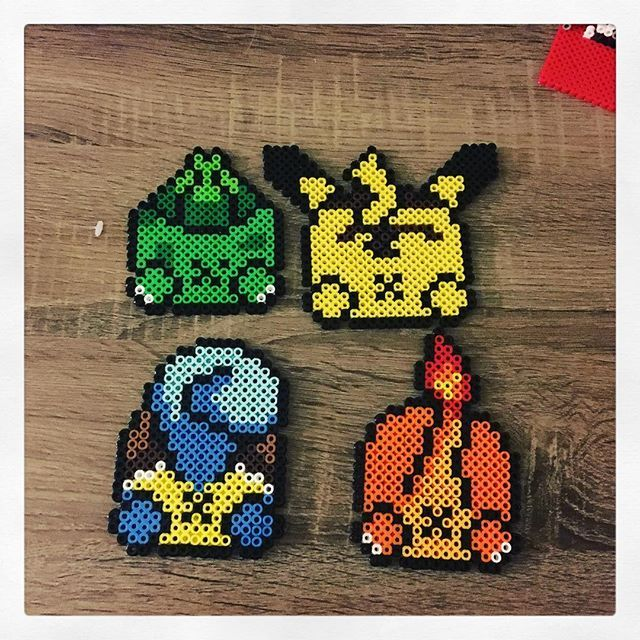 ***i now know who is the creator of the coasters @burritoprincess that I saw on Pinterest. Absolutely love it and made them also. Major props for coming up with the idea.***I added another Pokémon to the coasters. Pikachu **saw this on Pinterest and had to make. No an original piece** #perler #perlerart #perlernerd #perlerbeads #pixel #pixelart
