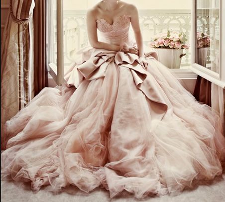 I think I would go with white, but this pink is kind of great.Romantic Pink Tulle Princess Bridal Wedding Gown.