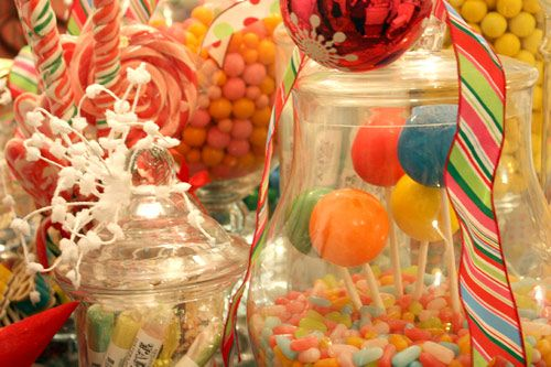 jars of candy: Christmas Parties, Cupcakes July, Birthday Parties, Santa Parties, Candyland Parties, Parties Ideas, Candyland I M Sweet On You, Candy Land, Candy Jars