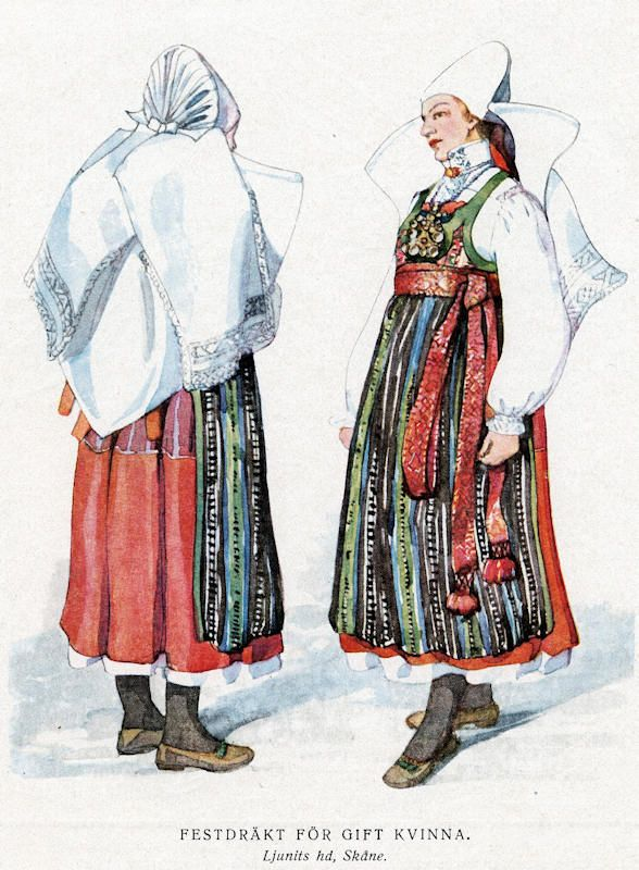 Folk dress of Ljunit, Skåne, Sweden