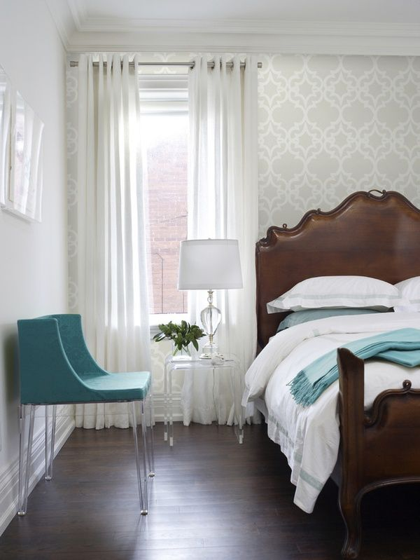 Love this teal blue and white bedroom with espresso flooring and dark wood  furniture  Contemporary wallpaper adds depth to the room. Best 25  Wallpaper accent walls ideas on Pinterest   Accent