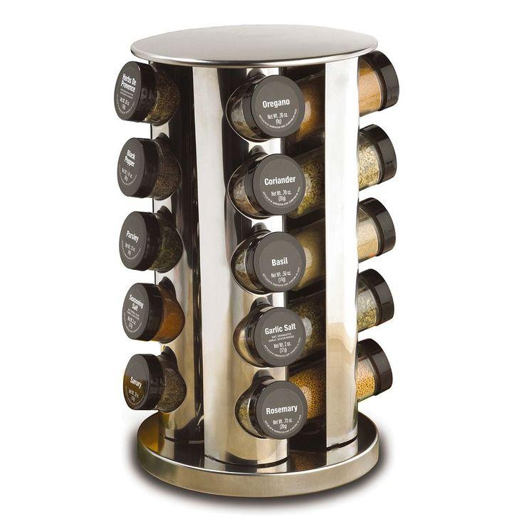 Kamenstein 20-Jar Revolving Spice Rack, Silver