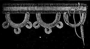 FIG. 769. BUTTONHOLE PICOTS WITH PICOTS IN BULLION STITCH.