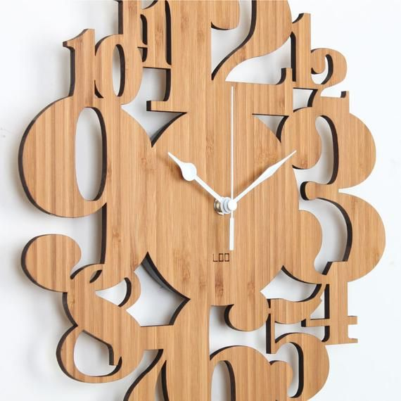 Unique Bamboo Wall Clock Numeric Forest Kitchen Vintage Etsy Bamboo Wall Diy Bird Feeder Wood Clock Diy